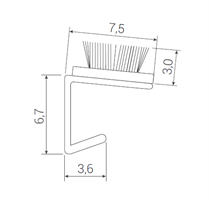 Børstelist 7,5x3 mm grå - Løpemeter