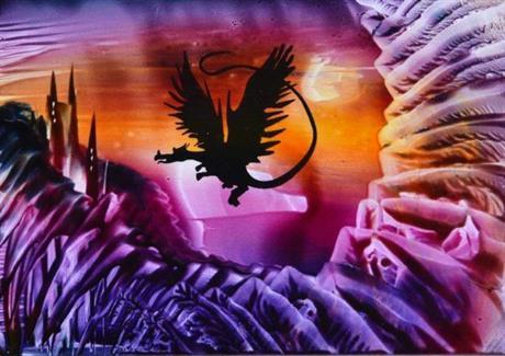 dragon flying left