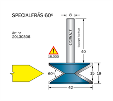Specialfräs D=42 60° L=15 S=8