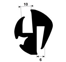 Klemprofil 10+6 EPDM Sort Veritas - Løpemeter