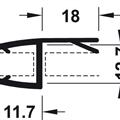 Kantlist mellomtetting/anslag 18 mm - 12 mm glass