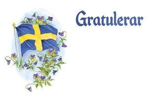 Kort Gratulerar svenska flaggan 100/fp