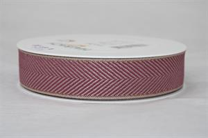 Band 25mm 20 m/r fiskben berry/linne/guld