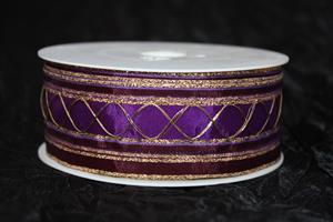Band 35 mm 20 m/r lilamönstrad med tråd