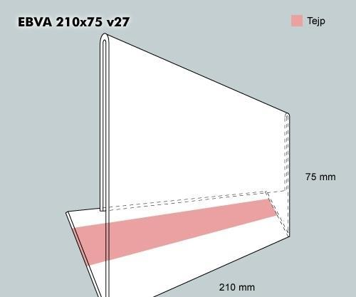 Etiketthållare EBVA 210-75F vinklad 27°