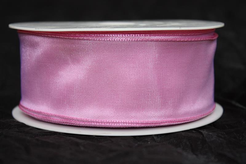 Band 40 mm 25 m/r rosa taft med tråd
