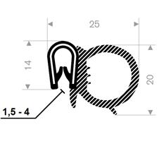 Kantprofil ST 36.116 sort (1,5-4 mm) - Løpemeter