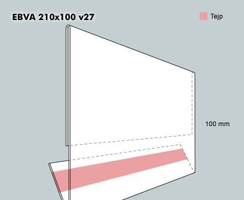 Etiketthållare EBVA 210-100F vinklad 27°