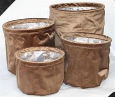 Textilkruka sammet brun olika storlekar