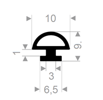 Dør/vindusprofil 309 sort EPDM - Løpemeter