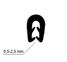 Kantprofil 10x13 mm sort (0,5-2,5 mm) - Løpemeter