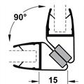 Magnetlist 90/180 grader for 5/6 mm glass - 1 par