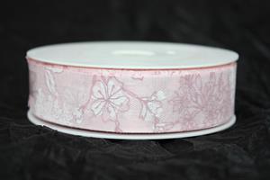 Band 25 mm 18 m/r rosa ej tråd