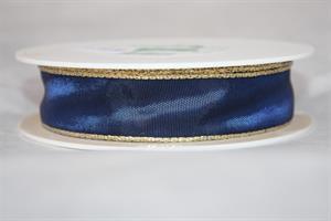 Band 25 mm 25 m/r blå/guldkant med tråd