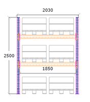 Startsektion h:2500 b:1850 mm 2 nivåer