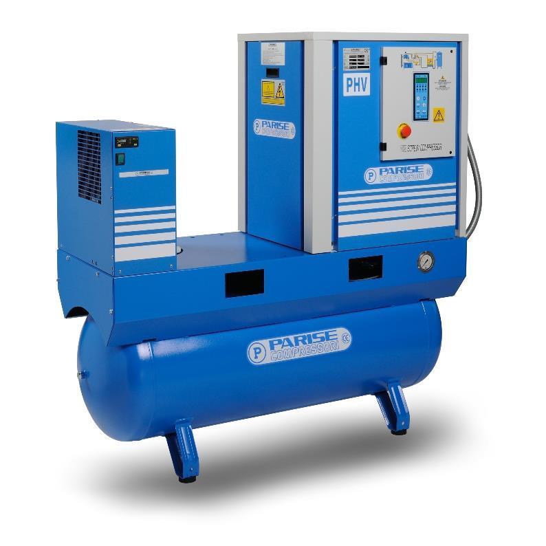 PARISE Ruuvikompressori 7.5kW, 900L/min, 10bar PHV10S270E/EC06-10 säiliöllä ja kuivaimella