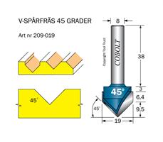 V-spårfräs 45° D=19 L=9.5 S=8