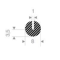 U-profil 1/8x8 mm sort EPDM svamp - Løpemeter