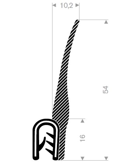 Kantprofil ST 36.910 sort (1,5-5 mm) - Løpemeter
