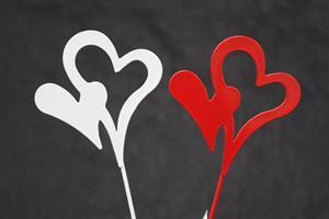 Hjärtan i plåt på pinne 24/fp