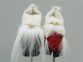 Tomte sticks vit luva mix grå/röd 12/fp