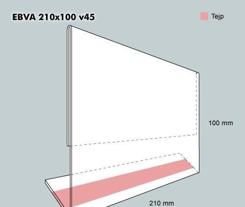 Etiketthållare EBVA 210-100F vinklad 45°