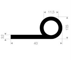 P-profil 40x17,5 mm sort EPDM - Løpemeter