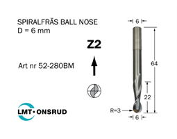 Spiralfräs Ballnose D=6 L=22 TL=64 S=6
