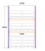 Startsektion h:3000 b:1850 mm 2 nivåer