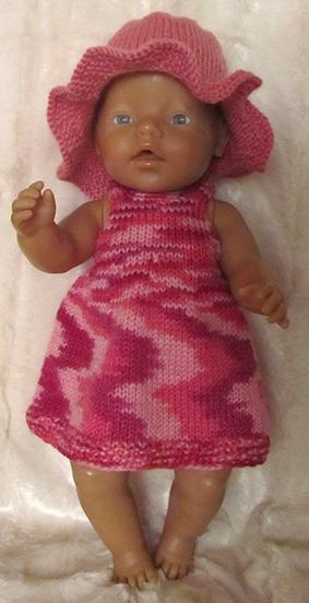 Strikket sett til BabyBorn i rosa