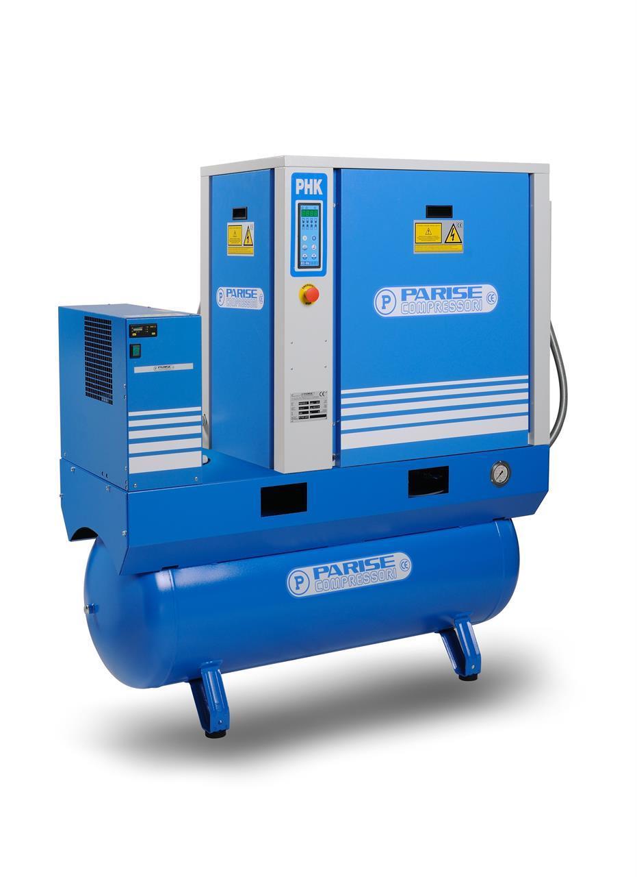 PARISE Ruuvikompressori 11kW, 1550L/min, 10bar PHK15S270E/EC06-10 säiliöllä ja kuivaimella