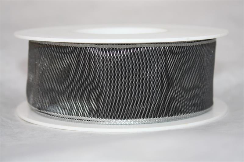 Band 40 mm 25 m/r mörkgrå med tråd