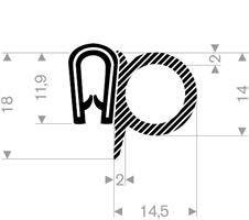 Kantprofil ST 36.115 sort (1,5-4 mm) - Løpemeter