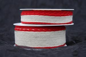 Band natur/röd vågkant olika bredder