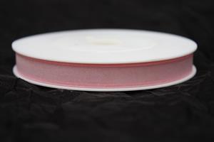 Band 10 mm 50 m/r organza ljusrosa