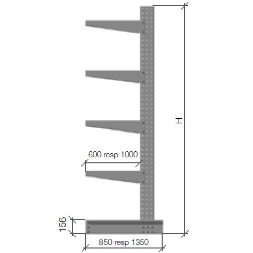 Enkelpelare 940 2000x600 mm galvad