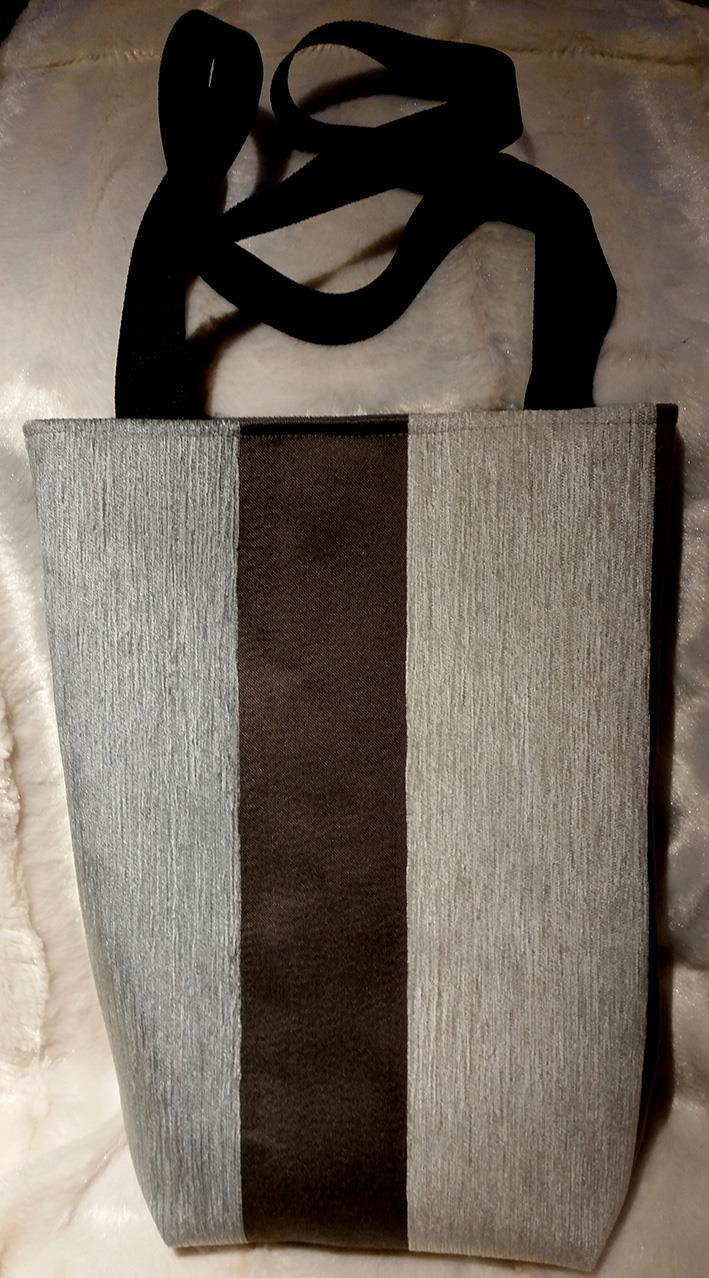 Sydd veske brun-beige-lysblå stripet