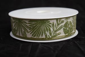 Band 25 mm 15 m/r linne gröna blad med tråd