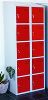 Förvaringsskåp 10-fack röd/grå