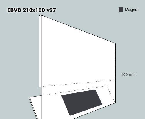Etiketthållare EBVB 210-100F vinklad 27°