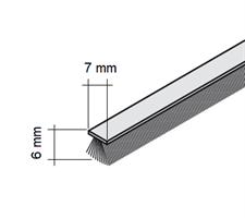 Børstelist 7x6x2500 mm grå u/tape