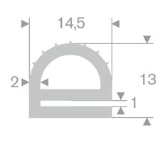 e-profil 1/14,5x13 mm Grå EPDM - Løpemeter