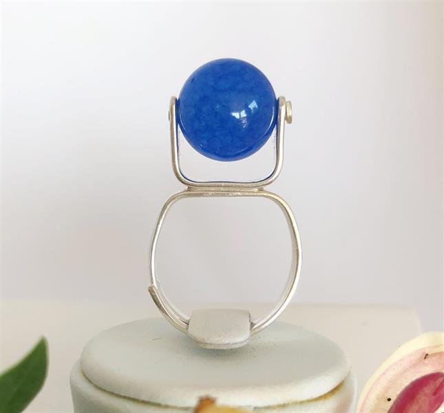 Ställbar ring i silver med blå agat.
