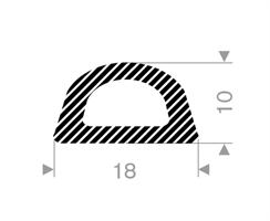 D-profil 18x10 mm Sort EPDM - Løpemeter