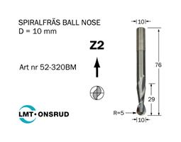 Spiralfräs Ballnose D=10 L=29 TL=76 S=10