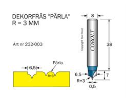 Dekorfräs Pärla R=3 D=6.5 S=8