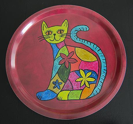 Bricka Sittande färgglad katt, rund