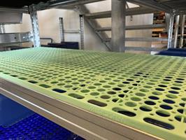 Perforerat hyllplan 500x1500 frostgrön frysrum
