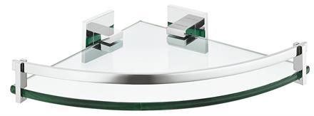 Glasshylle hjørne 23x23 cm krom