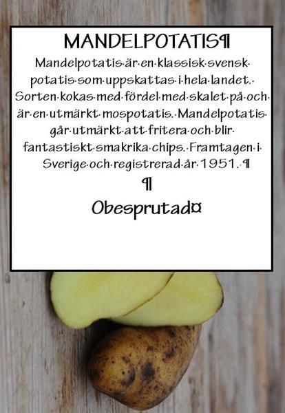 Potatis TVÄTTAD mandel ca1kg